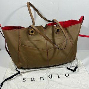 Sandro Haley GM Moka Brown Leather Red Suede Lined